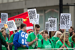 © Licensed to London News Pictures. 25/06/2013. London, UK. Hundreds of members of the national union of teachers (NUT), wearing green t-shirts, are seen marching in Westminster, London, today (25/06/2013). The march, against potential pay cuts to teachers salaries, took in a route which included the ministry of education. Photo credit: Matt Cetti-Roberts/LNP