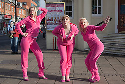 """© Licensed to London News Pictures. 20/02/202. London, England. L-R: Laura Checkley, Julie Coombe and Margi Clarke. """"Hormonal Housewives"""" a comedy starring Margi Clarke, Laura Checkley and Julie Coombe embarks on a UK tour from 22 February to 13 May 2012, starting at the New Wimbledon Theatre. Photo credit: Bettina Strenske/LNP"""