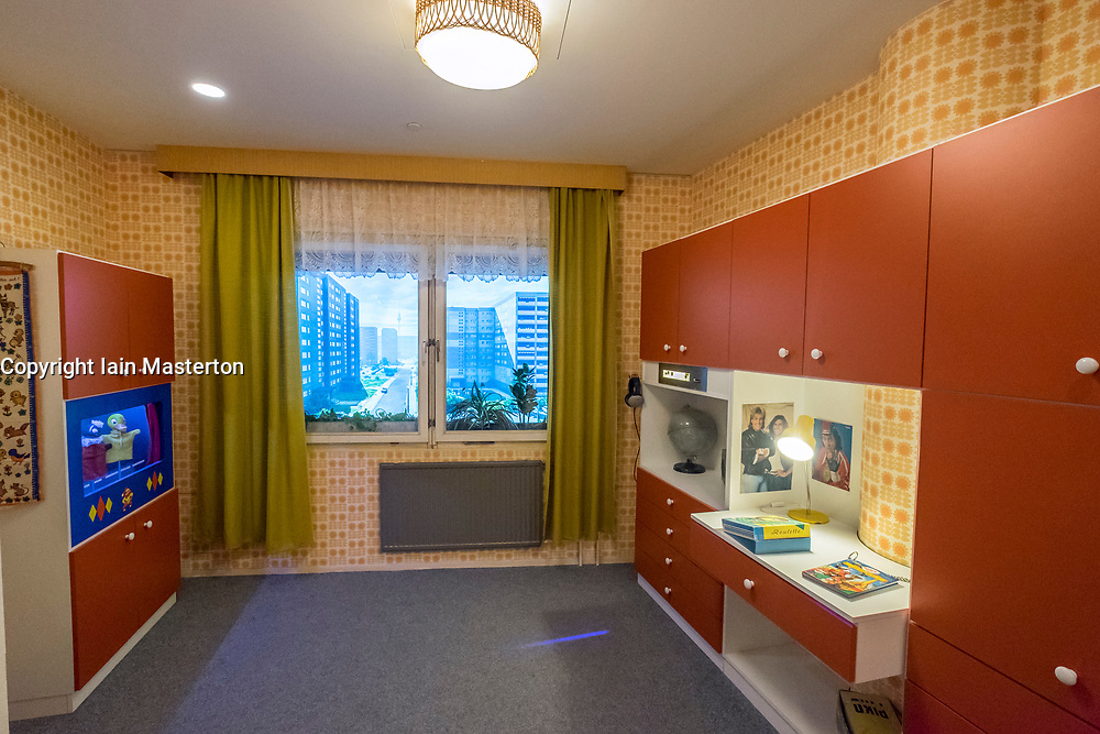 Childrens' bedroom of model East German apartment at DDR Museum, showing life in former East Germany,  in Mitte Berlin, Germany