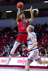 NORMAL, IL - February 22: Zach Copeland shoots from the side of the lane over Garrett Sturtz during a college basketball game between the ISU Redbirds and the Drake Bulldogs on February 22 2020 at Redbird Arena in Normal, IL. (Photo by Alan Look)