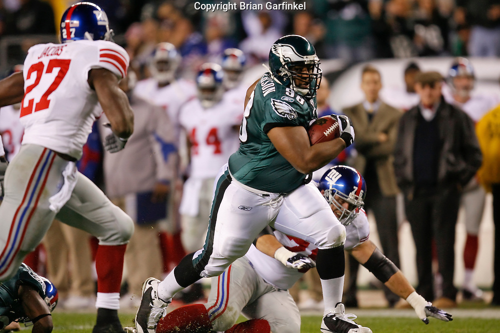 9 Oct 2008: Philadelphia Eagles defensive tackle Mike Patterson #98 runs the ball after an interception during the game against the New York Giants on October 9th, 2008. The Giants won 36-31 at Lincoln Financial Field in Philadelphia, Pennsylvania.