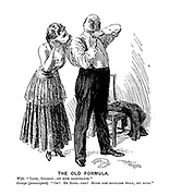 """The Old Formula. Wife. """"Look, George- my new respirator."""" George (preoccupied). """"Oh! By Jove- Yes! Suits you devilish well, my dear."""""""