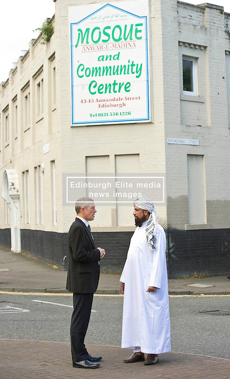 Pictured: Willie Rennie meets Imman Abdulghaffar outside theAnnadale Street Mosque<br /> <br /> Scottish Liberal Democrat  leader Willie Rennie headed to meet up with members of the Annandale Mosque, which has invited Donald Trump to visit while he is in Scotland this week to learn more about Islam.<br /> <br /> (c) Ger Harley | Edinburgh Elite media