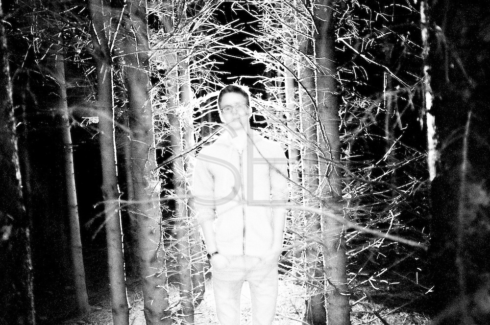 Summer 2015. Sugny, Belgium. Martin from France on the forest near to the FEDASIL refugee center at night during our international work-camp experience.