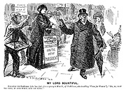 """My Lord Bountiful. Benevolent old gentleman (who has just given a penny to Miss A, of Park Lane, who is selling """"Votes for Women""""). """"No, no, keep the paper, my good woman, keep the paper!"""""""