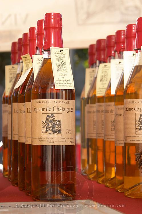 Different kinds of liqueurs: chestnut. Bordeaux city, Aquitaine, Gironde, France