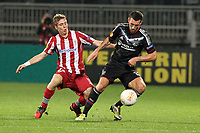 FOOTBALL - UEFA EUROPA LEAGUE 2012/2013 - GROUP STAGE - GROUP I - OLYMPIQUE LYONNAIS v ATHLETIC BILBAO - 25/10/2012 - PHOTO EDDY LEMAISTRE / DPPI - ANTHONY REVEILLERE (OL) AND IKER MUNIAIN (ACB)