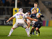 Sale Sharks scrum-half Faf de Klerk cuts back inside Exeter Chiefs No.8 Thomas Waldrom during the The Aviva Premiership match Sale Sharks -V- Exeter Chiefs  at The AJ Bell Stadium, Salford, Greater Manchester, England on Friday, October 27, 2017. (Steve Flynn/Image of Sport)