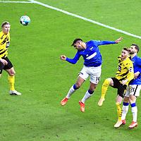 21.11.2020, OLympiastadion, Berlin, GER, DFL, 1.FBL, Hertha BSC VS. Borussia Dortmund, <br /> DFL  regulations prohibit any use of photographs as image sequences and/or quasi-video<br /> im Bild Omar Alderete (Hertha BSC Berlin #14), Marvin Plattenhardt (Hertha BSC Berlin #21),<br /> Erling Haaland (Borussia Dortmund #9), Marco Reus (Borussia Dortmund #11)<br /> <br />       <br /> Foto © nordphoto / Engler