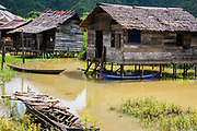 A village downstream in the Batang Toru ecosystem under threat from a new electrohydrodam project funded by the Chinese government. Many villages economically depend on fishing for survival. The new hydrodam will be disastrous for these villages and to the jurong fish migration, Tapanuli, Batang Toru Ecosystem, Sumatra, Indonesia
