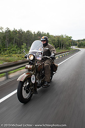 Terry Richardson riding his 1916 Harley-Davidson model J in the Motorcycle Cannonball coast to coast vintage run. Stage-2 (251-miles) from Keene, NH to Binghampton, NY. Sunday September 9, 2018. Photography ©2018 Michael Lichter.