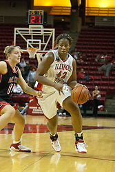 06 December 2006: Lashawn Johnson dribbles past Julie Demuth.  In a non-conference game, the Cardinals of Ball State visited the Redbirds home at Redbird Arena in Normal Illinois on the campus of Illinois State University.<br />