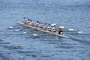 London, United Kingdom. Queens University Ladies C Crew  from Barnes Rail Bridge, 2014 Women's Head of the River Race. Chiswick to Putney, River Thames.  Saturday  15/03/2014    [Mandatory Credit; Peter Spurrier/Intersport-images]