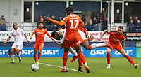 Blackpool's Marc Bola goes down under a challenge from Luton Town's Pelly Ruddock<br /> <br /> Photographer David Shipman/CameraSport<br /> <br /> The EFL Sky Bet League One - Luton Town v Blackpool - Saturday 6th April 2019 - Kenilworth Road - Luton<br /> <br /> World Copyright © 2019 CameraSport. All rights reserved. 43 Linden Ave. Countesthorpe. Leicester. England. LE8 5PG - Tel: +44 (0) 116 277 4147 - admin@camerasport.com - www.camerasport.com