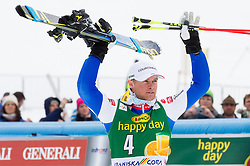 Third placed PINTURAULT Alexis of France celebrates at trophy ceremony after the 2nd Run of 7th Men's Giant Slalom - Pokal Vitranc 2013 of FIS Alpine Ski World Cup 2012/2013, on March 9, 2013 in Vitranc, Kranjska Gora, Slovenia. (Photo By Vid Ponikvar / Sportida.com)