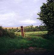 A294GD Gateway and hedgerow to grassy field with rolling hilly scenery beyond Dorset England