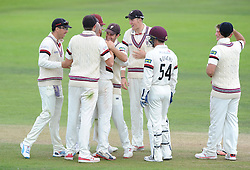 Jack Leach of Somerset celebrates as he bowls out Michael Carberry of Hampshire for LBW for 56    - Mandatory byline: Dougie Allward/JMP - 07966386802 - 11/09/2015 - Cricket - County Ground -Taunton,England - Somerset CCC v Hampshire CCC - LV=County Championship - Day 3