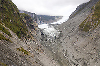 Aerial view of scenic Fox Glacier at the mountain range, New Zealand.