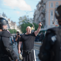 Far-right anti-protester yells at participants of the Gay Pride March in Budapest, Hungary on June 18, 2011. ATTILA VOLGYI