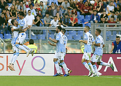 ROME, Oct. 21, 2018  Spal's  Kevin Bonifazi (2nd L) celebrates his goal with his teammates during an Italian Serie A soccer match between AS Roma and Spal in Rome, Italy, Oct. 20, 2018. Spal won 2-0. (Credit Image: © Augusto Casasoli/Xinhua via ZUMA Wire)