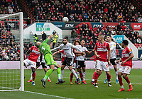 Bristol City's Niki Maenpaa (left) under a lot of pressure from Fulham as he punches the call clear from the Bristol City goal <br /> <br /> Photographer David Horton/CameraSport<br /> <br /> The EFL Sky Bet Championship - Bristol City v Fulham - Saturday 7th March 2020 - Ashton Gate Stadium - Bristol<br /> <br /> World Copyright © 2020 CameraSport. All rights reserved. 43 Linden Ave. Countesthorpe. Leicester. England. LE8 5PG - Tel: +44 (0) 116 277 4147 - admin@camerasport.com - www.camerasport.com