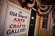 Historic train depot and gallery in the downtown shopping district of Black Mountain, North Carolina.
