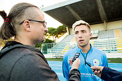 Kevin Kampl talking to Rok Plestenjak during the practice session of Team Slovenia 1 day before EURO 2016 Qualifier Group E match between Slovenia and San Marino, on October 11, 2015 in Riccione, Italy. Photo by Vid Ponikvar / Sportida