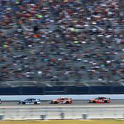 Jeff Gordon (24) leads Dale Earnhardt Jr. (88), Carl Edwards (19), Tony Stewart (14) and Denny Hamlin (11) during the 57th Annual NASCAR Daytona 500 race at Daytona International Speedway on Sunday, February 22, 2015 in Daytona Beach, Florida.  (AP Photo/Alex Menendez)