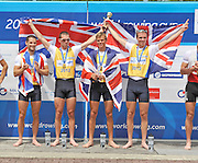 Munich, GERMANY,   GBR  LM4- Gold Medalist Men's Lightweight Four.   Bow Peter CHAMBERS, Rob WILLIAMS, Richard CHAMBERS and Chris BARTLEY.  2012 World Cup III on the Munich Olympic Rowing Course,  Sunday   17/06/2012. [Mandatory Credit Peter Spurrier/ Intersport Images]