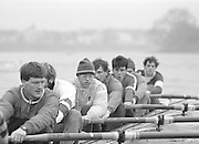 London. Great Britain.  <br /> <br /> 14.02.1987. GBR M8+, [Super Eight] training for the Head of the River Race.<br /> Hat and Glasses, Andy HOLMES.<br /> <br /> [Mandatory Credit, Peter Spurrier/ Intersport Images]. 19870214 GBR Super Eight for the HORR