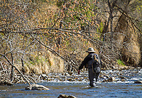 A fly fisherman on Utah's Provo River in early Spring.