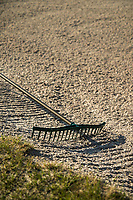 DEN DOLDER - Hark in het zand van de bunker, Golfsocieteit De Lage Vuursche. COPYRIGHT KOEN SUYK