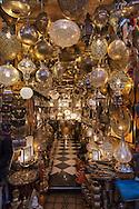 Moroccan design lamps in a shop in the medina of Marrakech, Morocco.