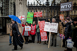 "© Licensed to London News Pictures. 13/03/2019. London, UK. An anti-Brexit protester (L) walks past a group of pro-Brexit demonstrators outside Parliament as MPs continue to debate a series of key votes on Brexit. MPs will vote on whether to remove the option of a ""no deal"" departure from the EU today, after Prine Minister Theresa May's proposed deal was defeated for a second time last night. Photo credit: Rob Pinney/LNP"