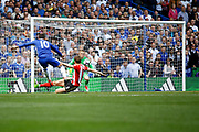 Chelsea Midfielder Eden Hazard (10) scores a goal (score 2-1) during the Premier League match between Chelsea and Sunderland at Stamford Bridge, London, England on 21 May 2017. Photo by Andy Walter.