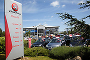 Vauxhall car sales dealership and sign, Ransomes Europark, Ipswich, Suffolk, England