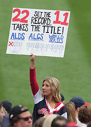 October 6, 2017 - Cleveland, OH, USA - A Cleveland Indians fans holds a sign during the team's game against the New York Yankees in Game 2 of the American League Division Series, Friday, Oct. 6, 2017, at Progressive Field in Cleveland. (Credit Image: © Mike Cardew/TNS via ZUMA Wire)