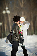 Young couple in Komsomolsk-na-Amure.Siberia, Russia