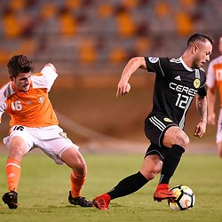 BRISBANE, AUSTRALIA - JANUARY 23: Stephan Markus Schrock of Ceres Negros in action during the AFC Champions League Second Preliminary Round match between Brisbane Roar and Ceres Negros FC on January 23, 2017 in Brisbane, Australia. (Photo by Patrick Kearney)