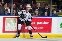 KELOWNA, CANADA - MARCH 16: Milos Roman #40 of the Vancouver Giants passes the puck against the Kelowna Rockets  on March 16, 2019 at Prospera Place in Kelowna, British Columbia, Canada.  (Photo by Marissa Baecker/Shoot the Breeze)