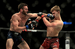 Arnold Allen (right) and Jordan Rinaldi in action during their Featherweight bout during UFC Fight Night 147 at The O2 Arena, London.