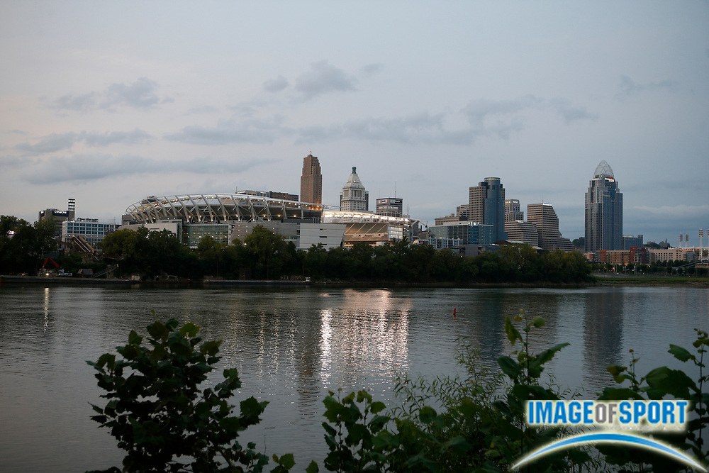A general overall view of Paul Brown Stadium and the Ohio river with the downtown Cincinnati skyine as a badkdrop Sunday, Sept. 13, 2020, in Cincinnati.