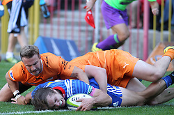 Daniel du Plessis of the Stormers reaches over for the try during the Super Rugby match between the DHL Stormers and the Toyota Cheetahs held at DHL Newlands rugby stadium in Newlands, Cape Town, South Africa on the 28th May 2016<br /> <br /> Photo by: Ron Gaunt / SPORTZPICS