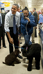President Barack Obama laughs as his dog Bo sniffs another dog as he shops at Petsmart in Alexandria, Virginia, USA, on December 21, 2011. Photo by Kevin Dietsch/Pool/ABACAPRESS.COM  | 302371_006 Alexandria Etats-Unis United States