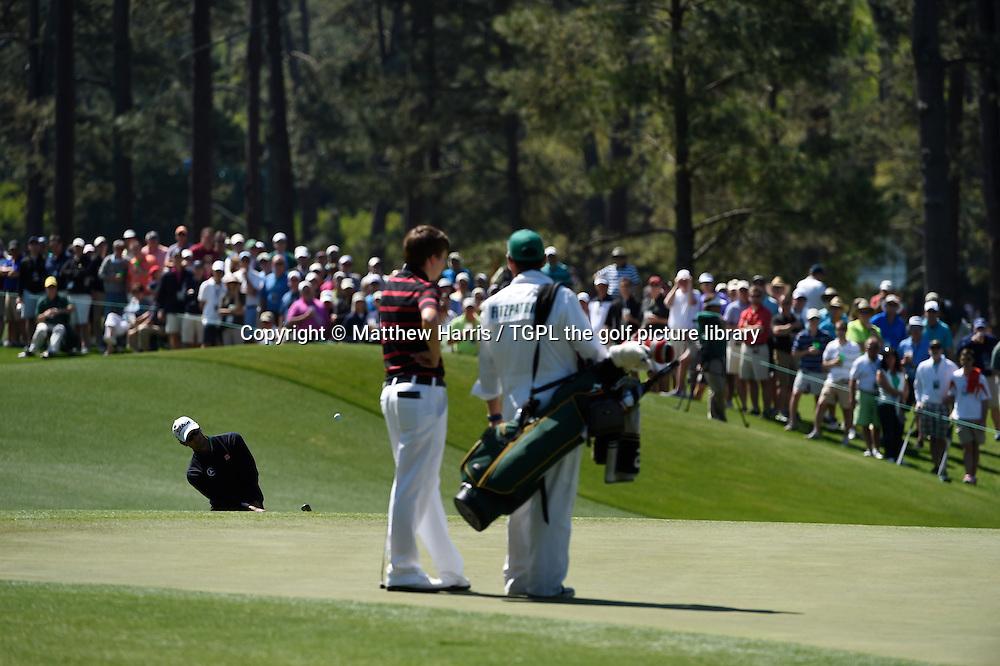 Adam SCOTT (AUS) and Matthew FITZPATRICK (ENG) during first round US Masters 2014,Augusta National,Augusta, Georgia,USA.