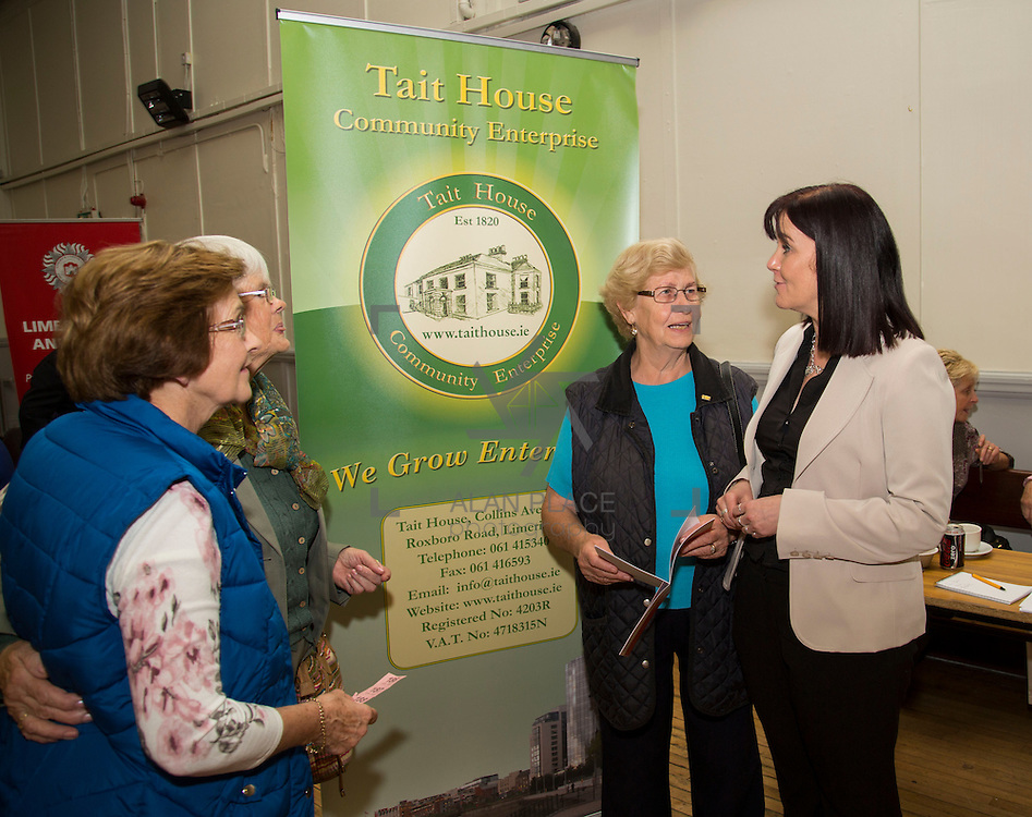 01.10.14            <br /> The Limerick City Community Safety Partnership will host a Safety Information Day for Older People. The event will feature important personal and home safety information for older people. Nutritional advice, occupational therapy, and care and repair demonstrations will also be provided. Advice and literature on a range of issues will be provided on the day by agencies including An Garda Síochána, Limerick City and County Council, Home Instead Senior Care, Limerick Fire and Rescue Service and the HSE. <br /> Attending the event at St. Johns Pavilion were, Monica Moloney, Kilfinane, Helen Carroll, Kilfinane and Joan Cagney, Kilfinane with Vanessa Hockedy, Tait House. Picture: Alan Place.