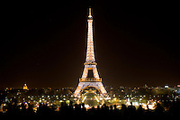 Every hour on the hour at night the Eiffel Tower lights right up for a few minutes.