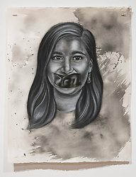 April 26, 2018 - Tampa, Florida, U.S. - A charcoal portrait of Parkland victim Carmen Schentrup, by Symone Hall in the BFA show at the Scarfone/Hartley Gallery at the University of Tampa, on April 26, 2018 in Tampa, Fla. (Credit Image: © Monica Herndon/Tampa Bay Times via ZUMA Wire)
