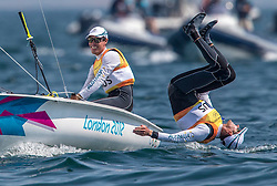 10.08.2012, Bucht von Weymouth, GBR, Olympia 2012, Segeln, im Bild GOLD:.Belcher Mathew, Page Malcolm, (AUS, 470 Men).. // during Sailing, at the 2012 Summer Olympics at Bay of Weymouth, United Kingdom on 2012/08/10. EXPA Pictures © 2012, PhotoCredit: EXPA/ Daniel Forster ***** ATTENTION for AUT, CRO, GER, FIN, NOR, NED, .POL, SLO and SWE ONLY!