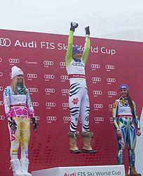 19.03.2011, Pista Silvano Beltrametti, Lenzerheide, SUI, FIS Ski Worldcup, Finale, Lenzerheide, PODIUM, im Bild die zweitplatzierte im Damen Gesamtweltcup Lindsey Vonn (USA), Gesamtweltcup Siegerin, Damen, Maria Riesch (GER) mit einem Luftsprung und die drittplatzierte Tina Maze (SLO) // the second place in the women's overall World Cup Lindsey Vonn (USA), the overall World Cup winner, ladies, Maria Riesch (GER) with a leap into the air and the third-place Tina Maze (SLO) during Podium, at Pista Silvano Beltrametti, in Lenzerheide, Switzerland, 19/03/2011, EXPA Pictures © 2011, PhotoCredit: EXPA/ J. Feichter